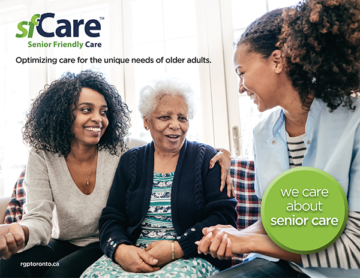 SF care ad: SF care - Senior Friendly Care - Optimizing care for the unique needs of older adults. we care about seniors care.