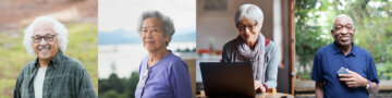 Four images side by side, of elderly individuals.