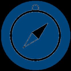 Compass icon.