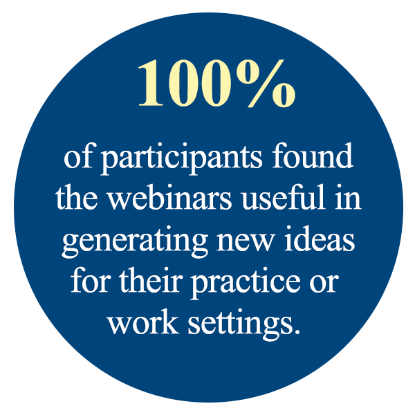 100% of participants foundthe webinars useful ingenerating new ideasfor their practice or work settings.