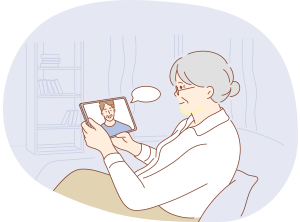 An image of a woman on a tablet.